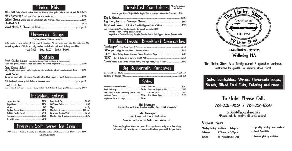 linden store deli menu